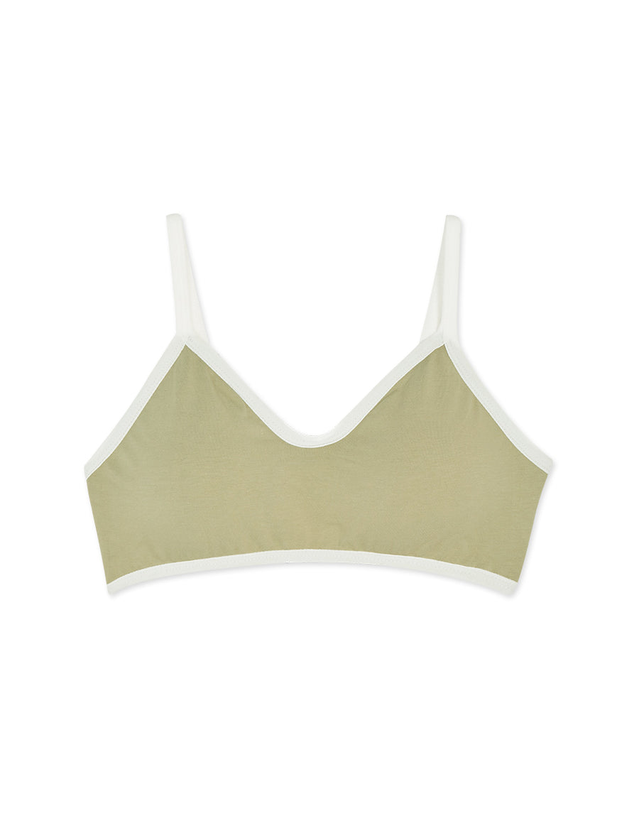 Thin Strap Contrast Colour Trimming Bralette (with Detachable Padding)