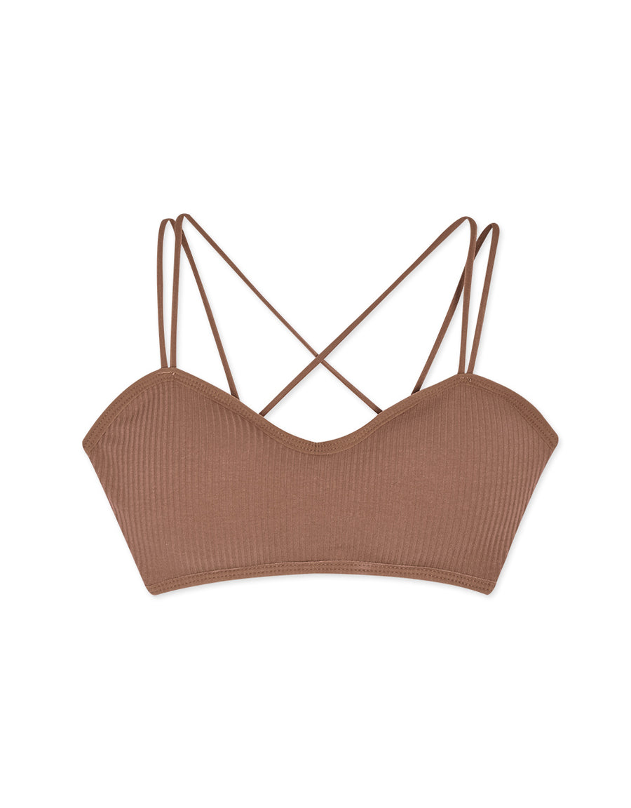 Sweetheart Neckline Double Strap Cross Back Ribbed Bralette (with Detachable Padding)