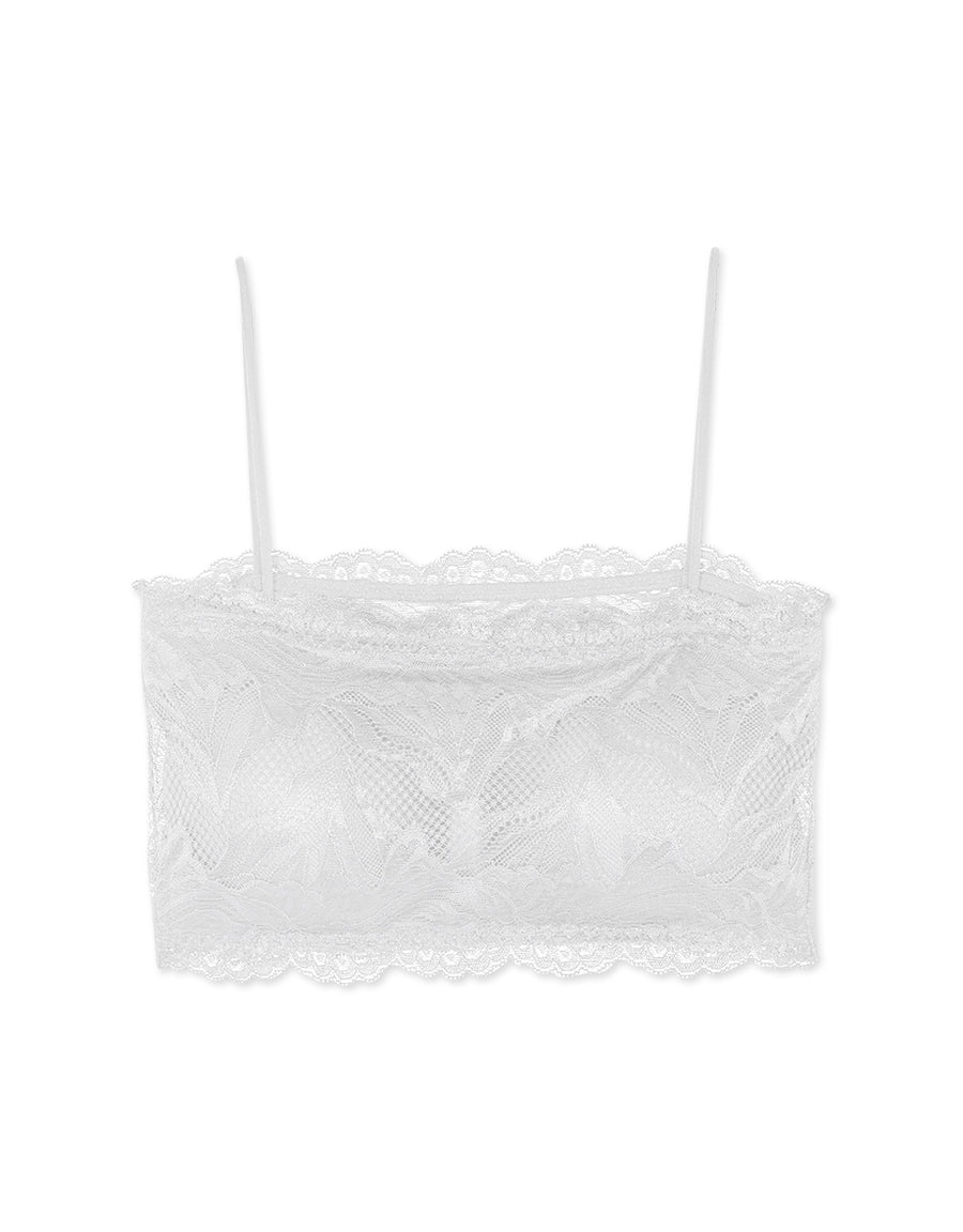 Thin Strap Lace Transparent Back Tube Bralette (with Detachable Padding)