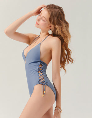 Thin Strap Side Lace Up High-Leg One-Piece Bikini