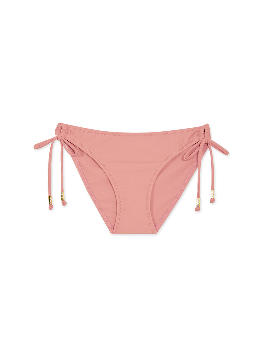 Plain Side Tie Shirred Back Bikini Bottom