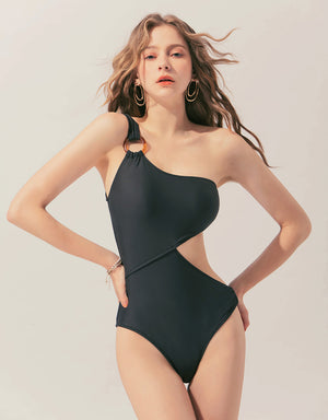 One Shoulder Sexy Waist Cut Out One-Piece Bikini