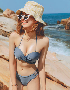 8Way Plain Crossover Bustier Ribbon Bikini Top