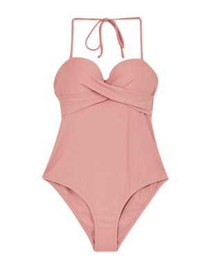 3Way Plain Bustier Crossover One-Piece Bikini