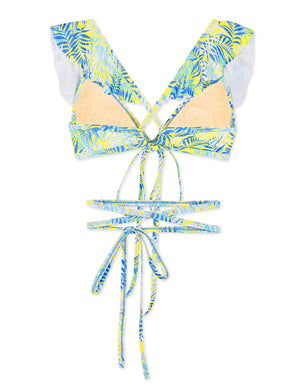 Sweet Printed Ruffle Tie Waist Push Up Bikini Top