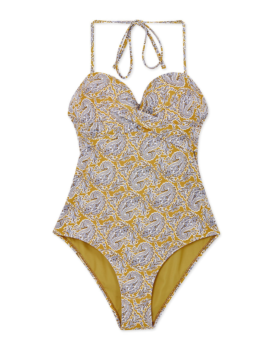 3Way Printed Bustier Crossover One-Piece Bikini