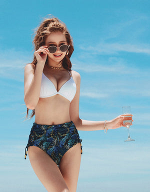 ( S,2L) Printed High-Waisted Side Lace-Up Bikini Bottom