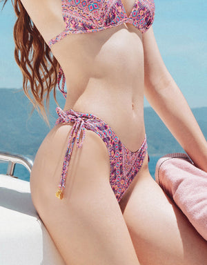 Printed Side Tie Thong Bikini Bottom