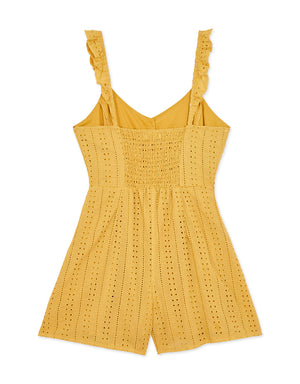 Ruffle Strap Button Up Broderie Playsuit