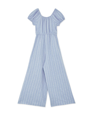 Off Shoulder Striped Cinched Waist Ribbon Jumpsuit