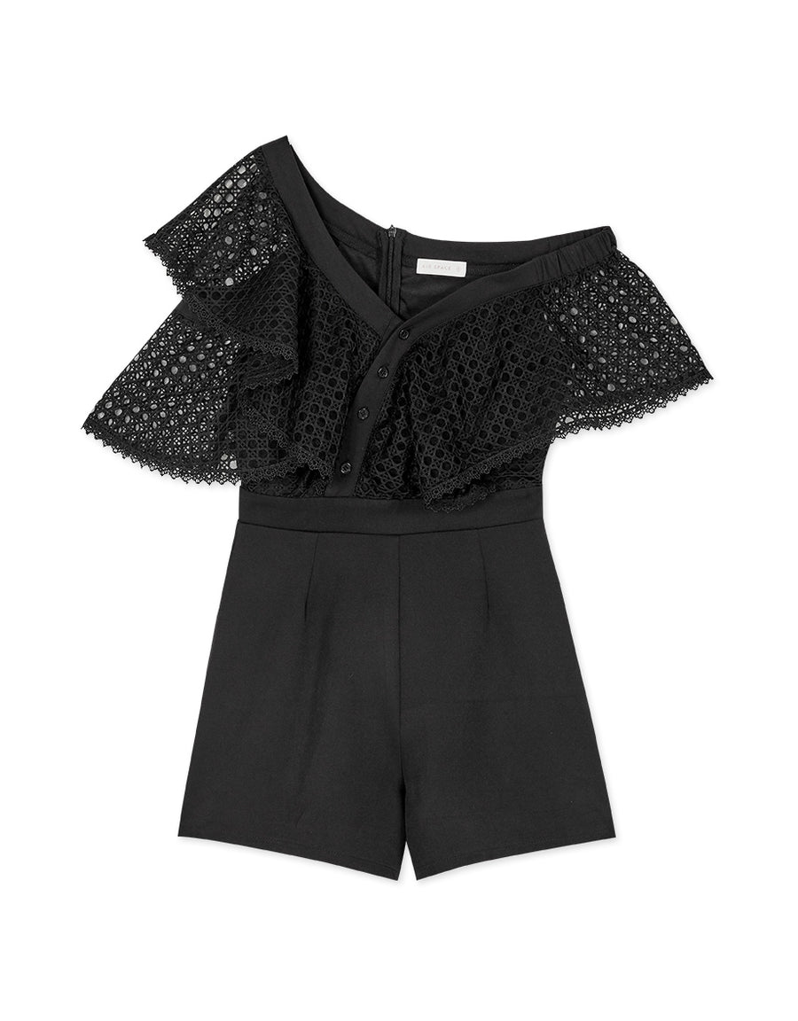 Chic Sloping Shoulder Ruffle Sleeve Playsuit