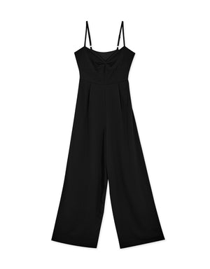 Thin Strap Shirred Front Chiffon Jumpsuit