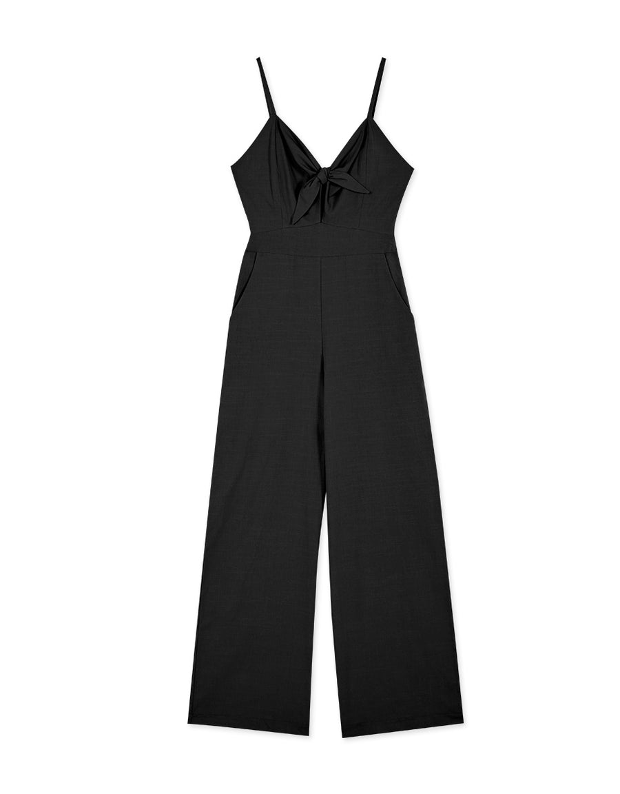 Sleek Thin Strap Knot Front Keyhole Jumpsuit