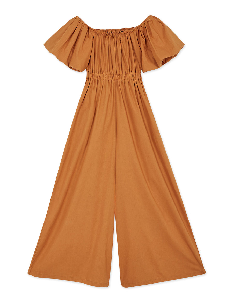 Off Shoulder Balloon Sleeve Cinched Waist Jumpsuit