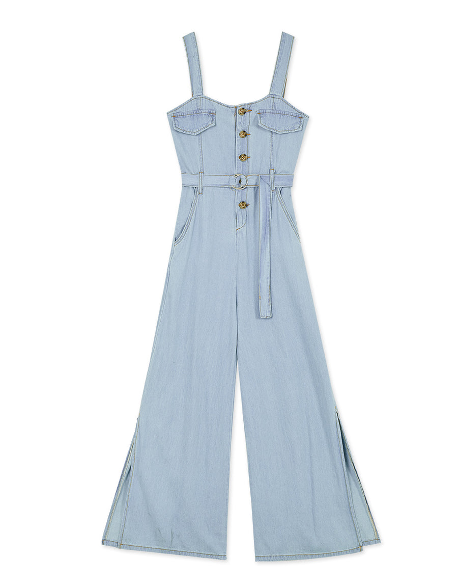 Denim Thin Strap Button Up Side Slit Belted Jumpsuit