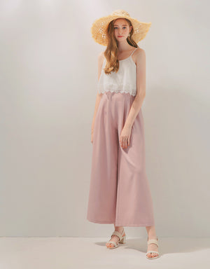 Thin Strap Fake Two-Piece Ruffle Chiffon Jumpsuit