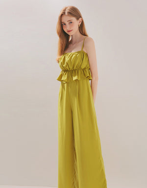 Thin Strap Scrunch Ruffle Fake Two-Piece Jumpsuit