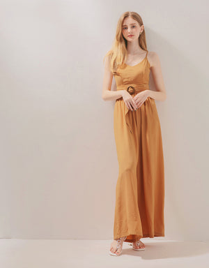 Textured Thin Strap Belted Wide-Leg Jumpsuit