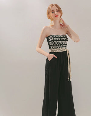 Weave Tube Belted Jumpsuit