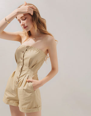 Tube Button Up Elastic Playsuit
