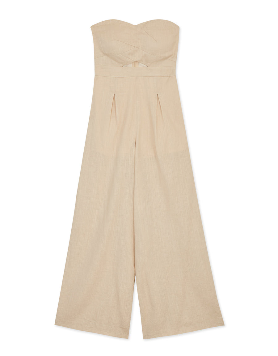 Hollow Waist Tube Wide-Leg Jumpsuit (With Padding)