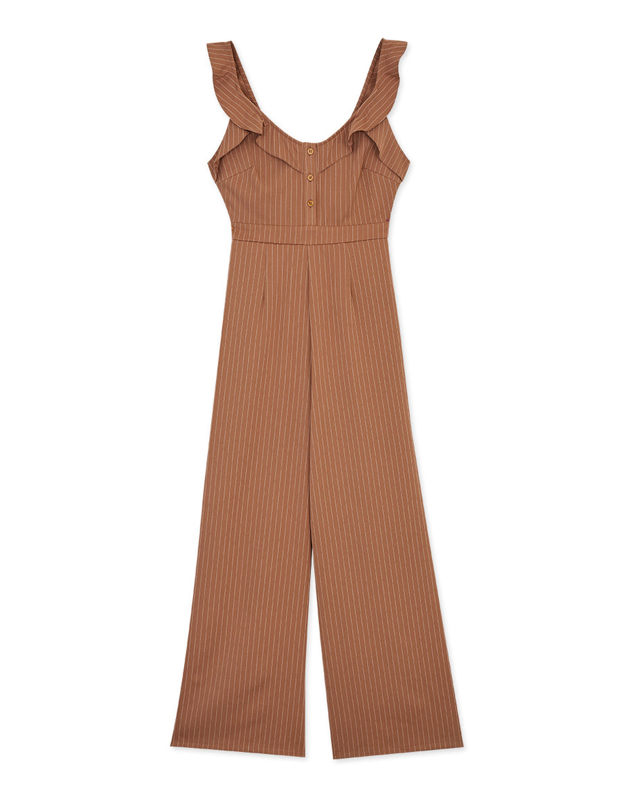 Ruffle Striped Slimming Wide-Leg Jumpsuit