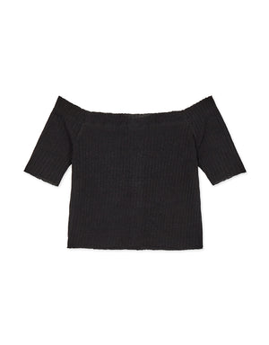 Off Shoulder Amber Button Knitted Top