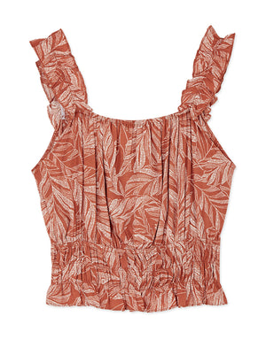 Tropical Print Ruffle Ribbon Cinched Waist Tank Top