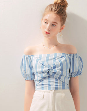 Off Shoulder Striped Knot Front Back Tie Crop Top
