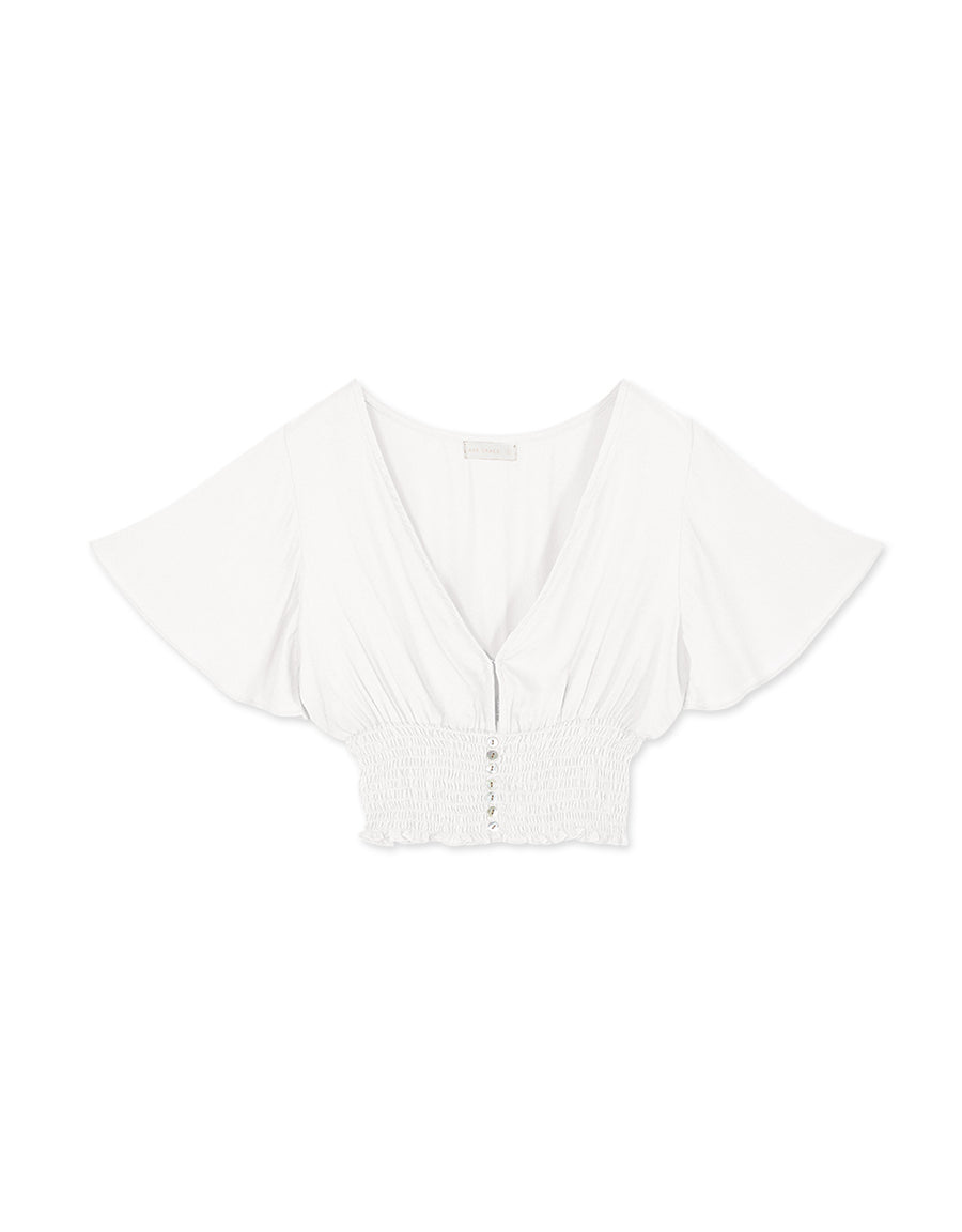 Deep V Smocked Waist Button Down Flutter Sleeve Top