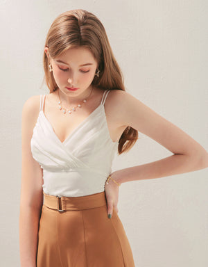 Double Strap Crossover Creased Chiffon Cami Top