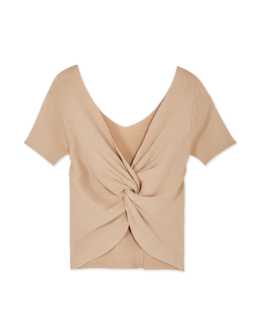2Way Deep V Knotted Crop Fitted Top