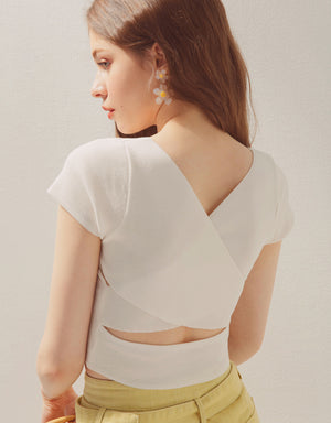 V-Neck Cross Back Crop Fitted Top