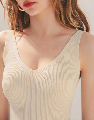 Casual V-Neck Knitted Fitted Tank Top