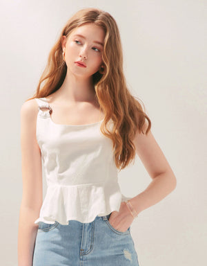 Wooden Ring Thick Strap Hollow Back Ribbon Peplum Top