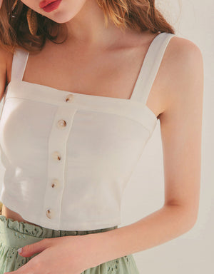 Casual Button Down Tube Crop Tank Top