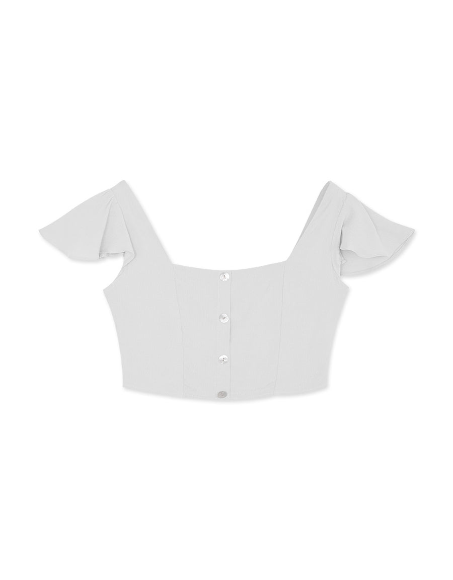 Square Neck Ruffle Sleeve Button Down Crop Top