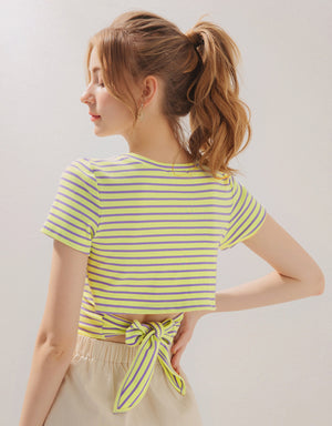 Striped Backtie Crop Top
