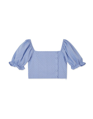 2Way Puff Sleeve Swiss Dot Crop Top