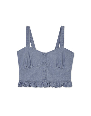 Peplum Denim Crop Tank Top