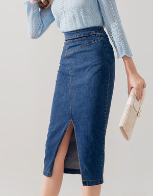 Contrast Stitching Slit Denim Pencil Midi Skirt
