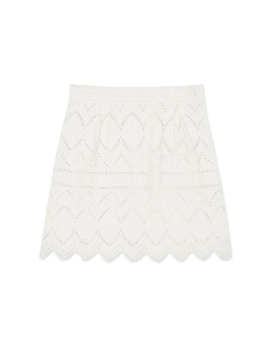 Broderie Lace A-Line Skirt