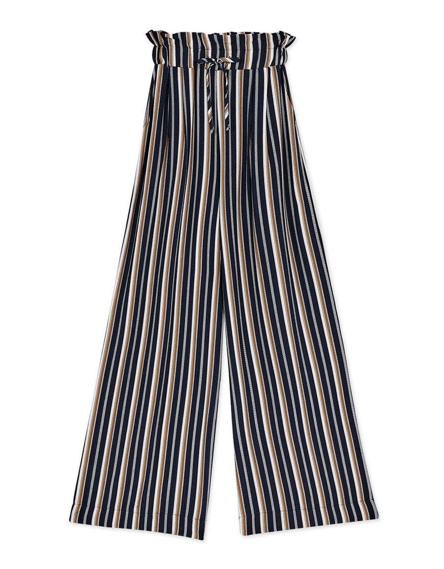 Paperbag Contrast Colour Striped Drawstring Pants