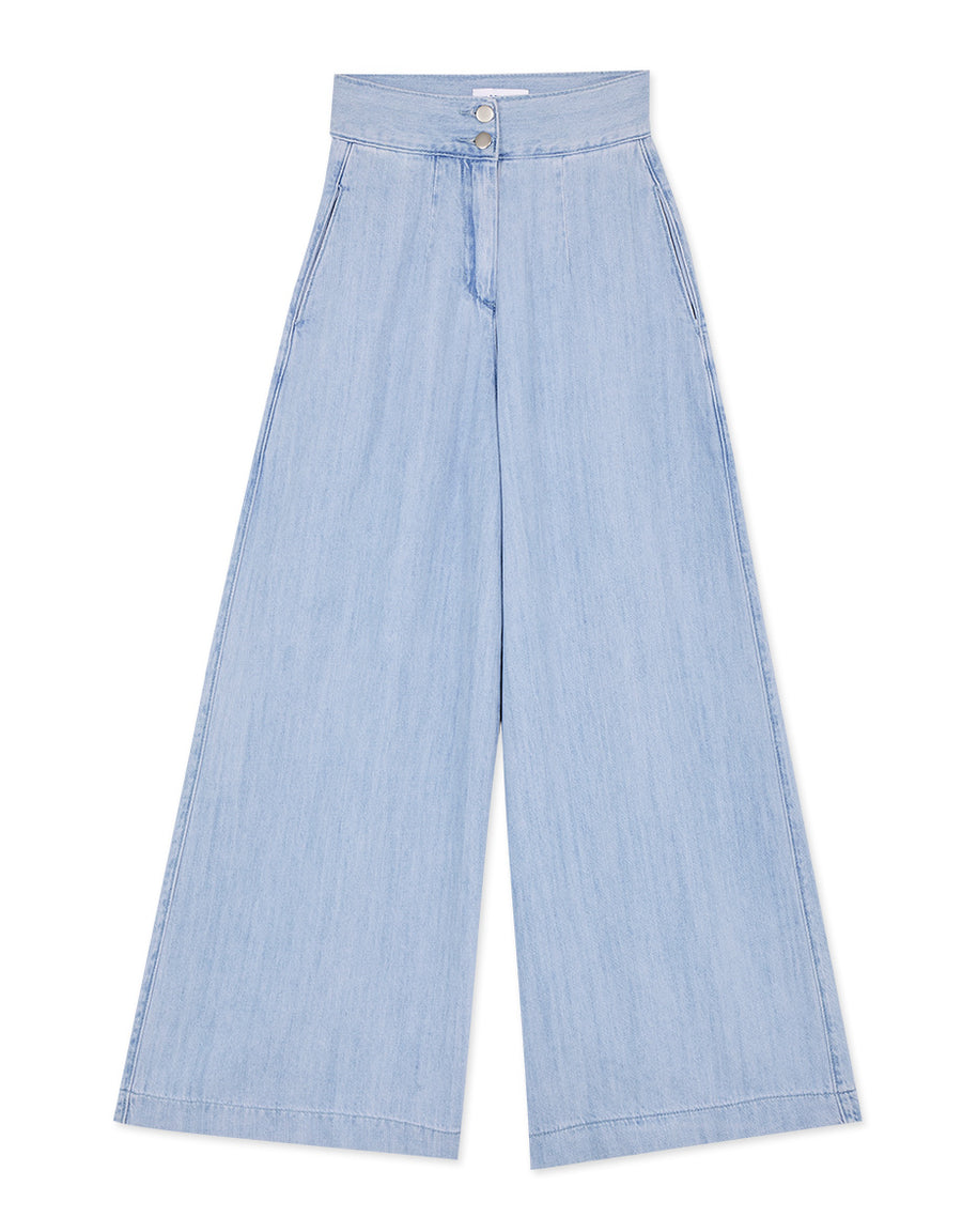 Double Button Wide-Leg Denim Pants