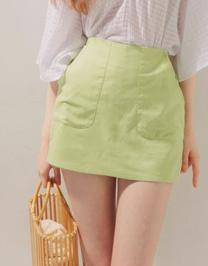 Linen Two-Pocket Stretch Waist Skort