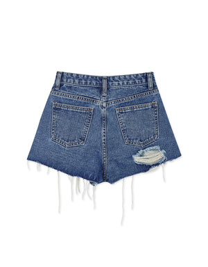 Chic Distressed Side Slit Slim Fit Denim Shorts