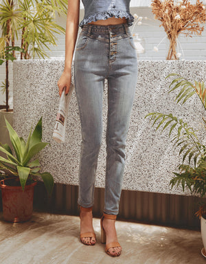 High Waisted Button Up Skinny Denim Pants