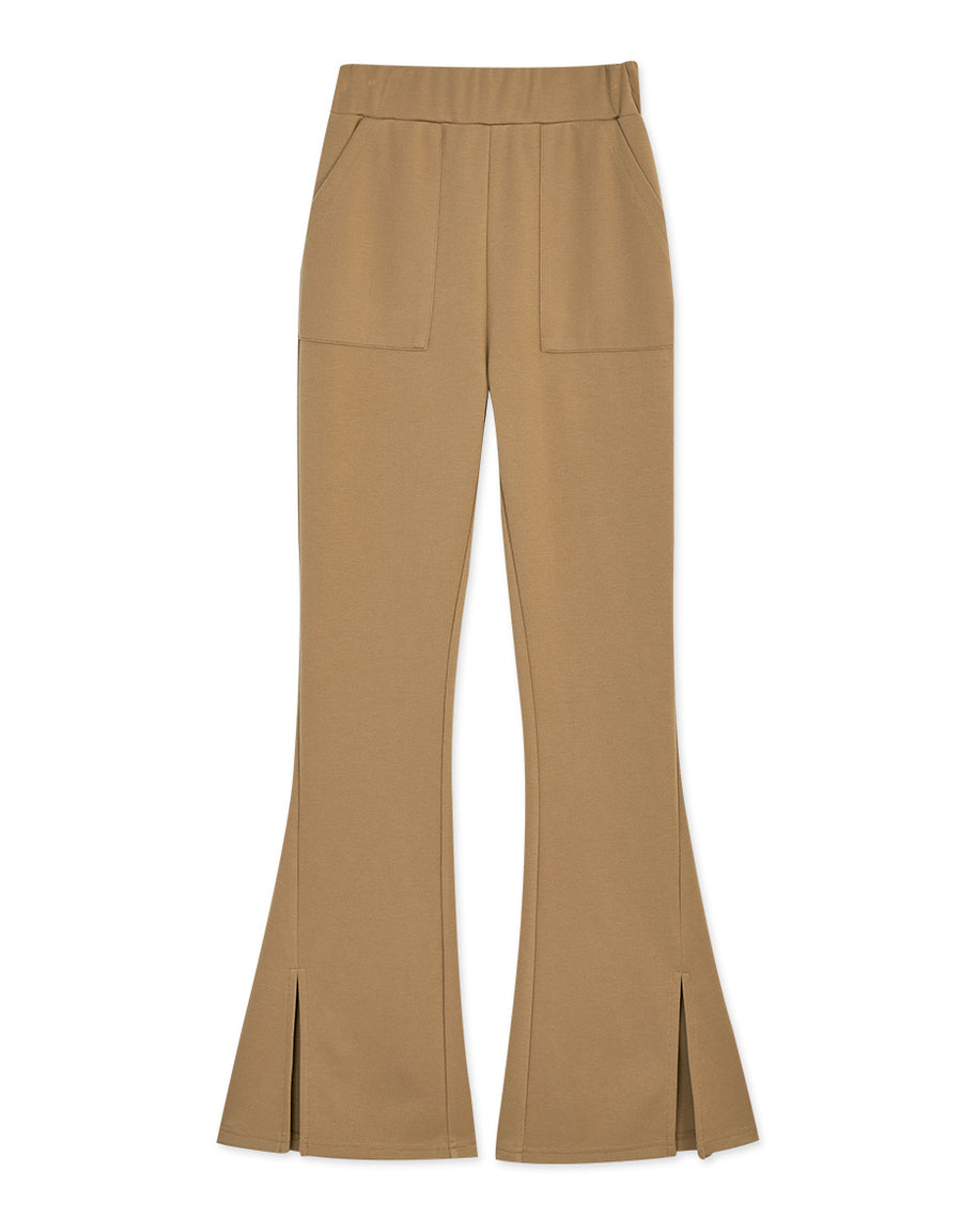 Cooling High Waisted Trumpet Pants (with Side Slit and Wider Leg)