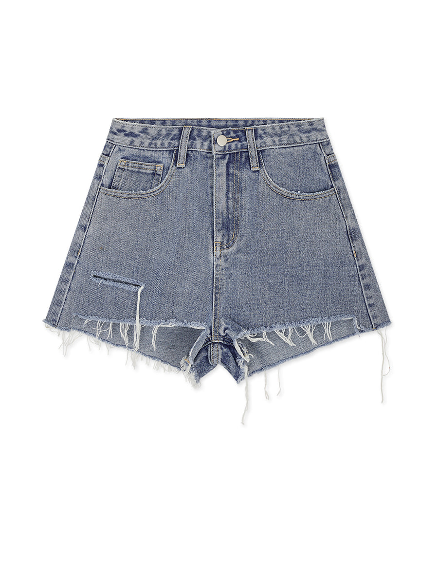 Distressed Brushed Denim Shorts