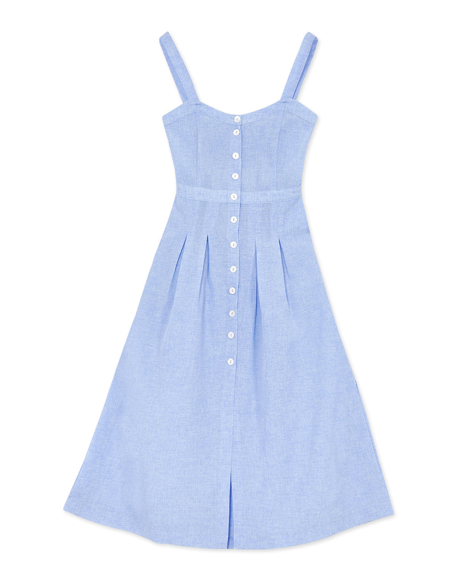 Button Down Linen Midi Tank Dress